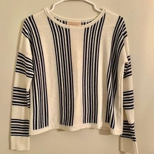 Philosophy Blue & White Vertical Striped Sweater